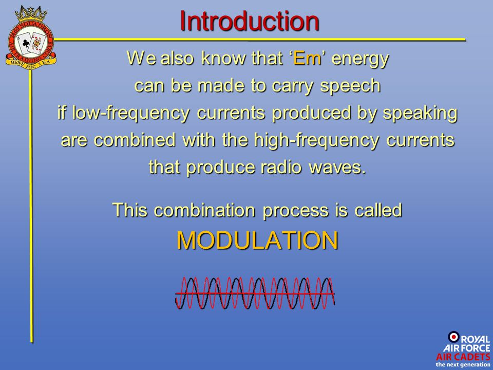 Introduction MODULATION We also know that 'Em' energy