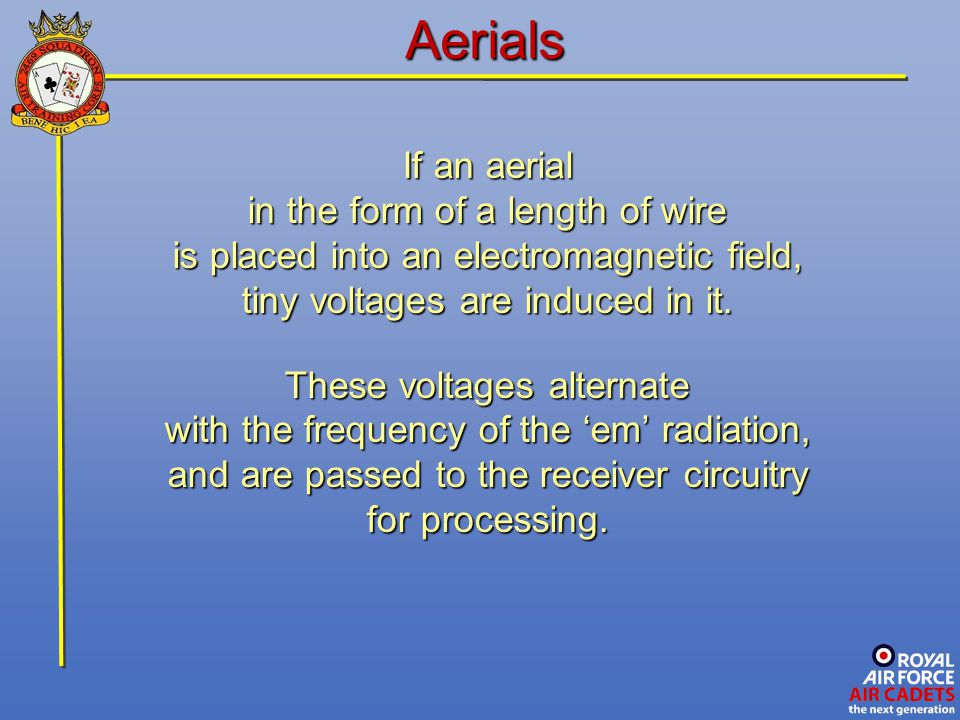 Aerials If an aerial in the form of a length of wire