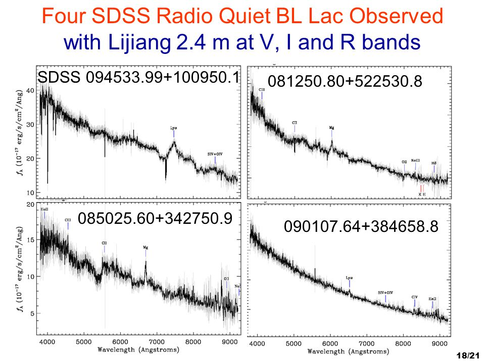 Four SDSS Radio Quiet BL Lac Observed with Lijiang 2
