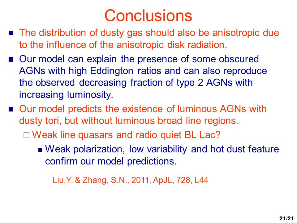 Conclusions The distribution of dusty gas should also be anisotropic due to the influence of the anisotropic disk radiation.