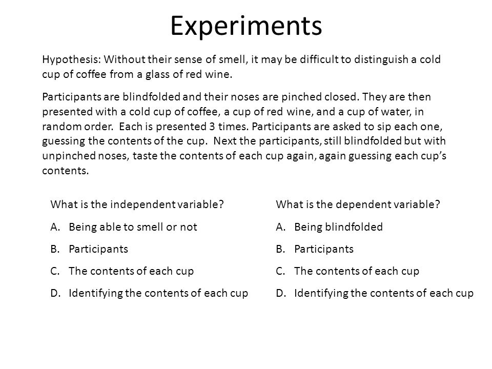 Experiments Hypothesis: Without their sense of smell, it may be difficult to distinguish a cold cup of coffee from a glass of red wine.