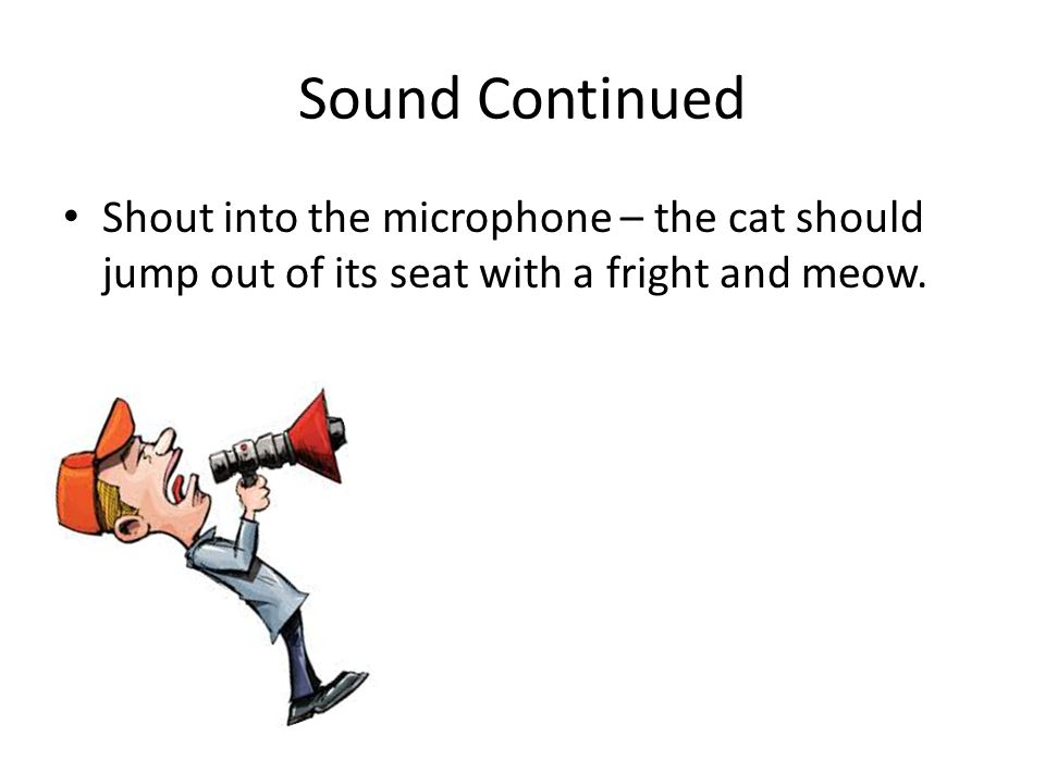 Sound Continued Shout into the microphone – the cat should jump out of its seat with a fright and meow.