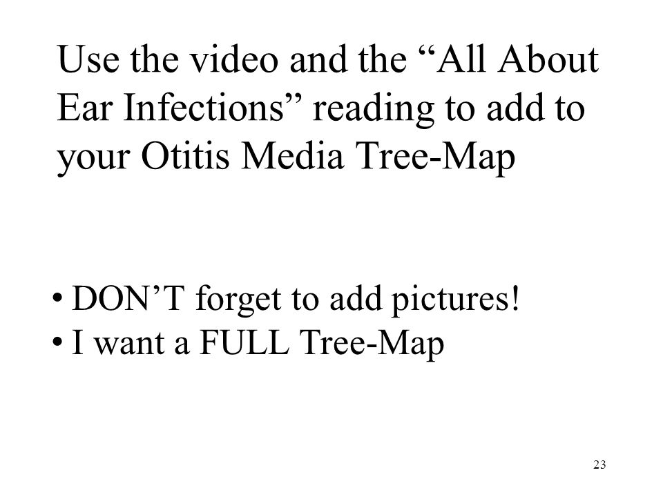 Use the video and the All About Ear Infections reading to add to your Otitis Media Tree-Map