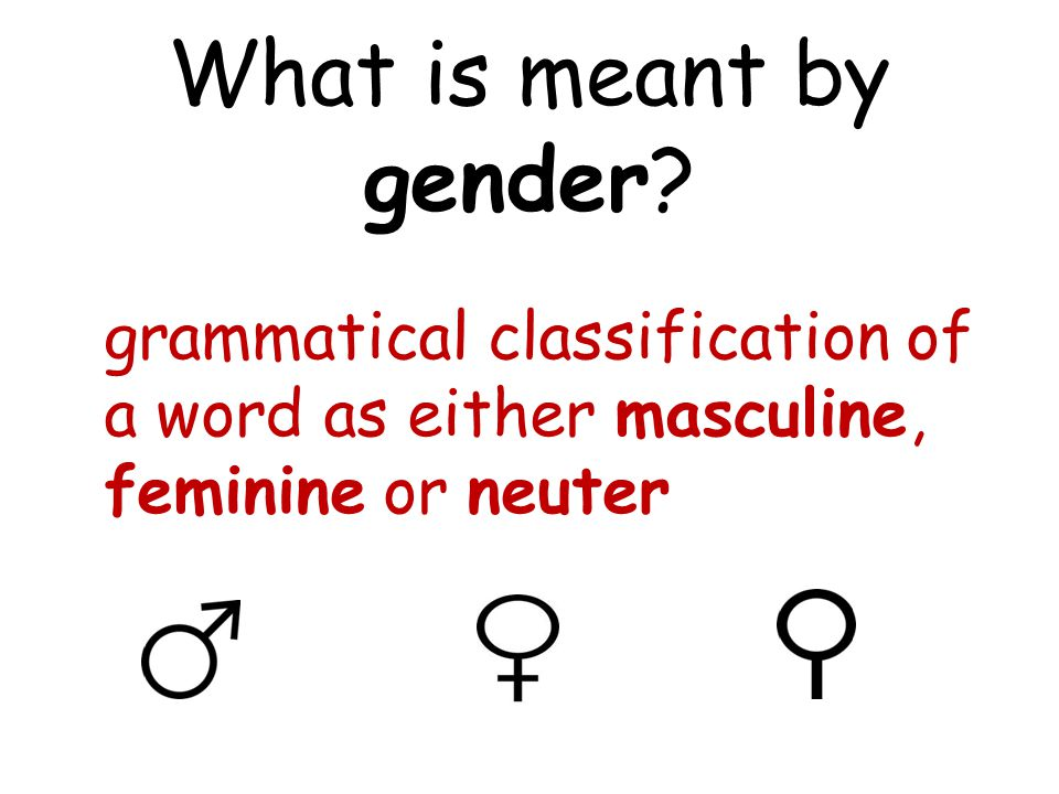 What is meant by gender.