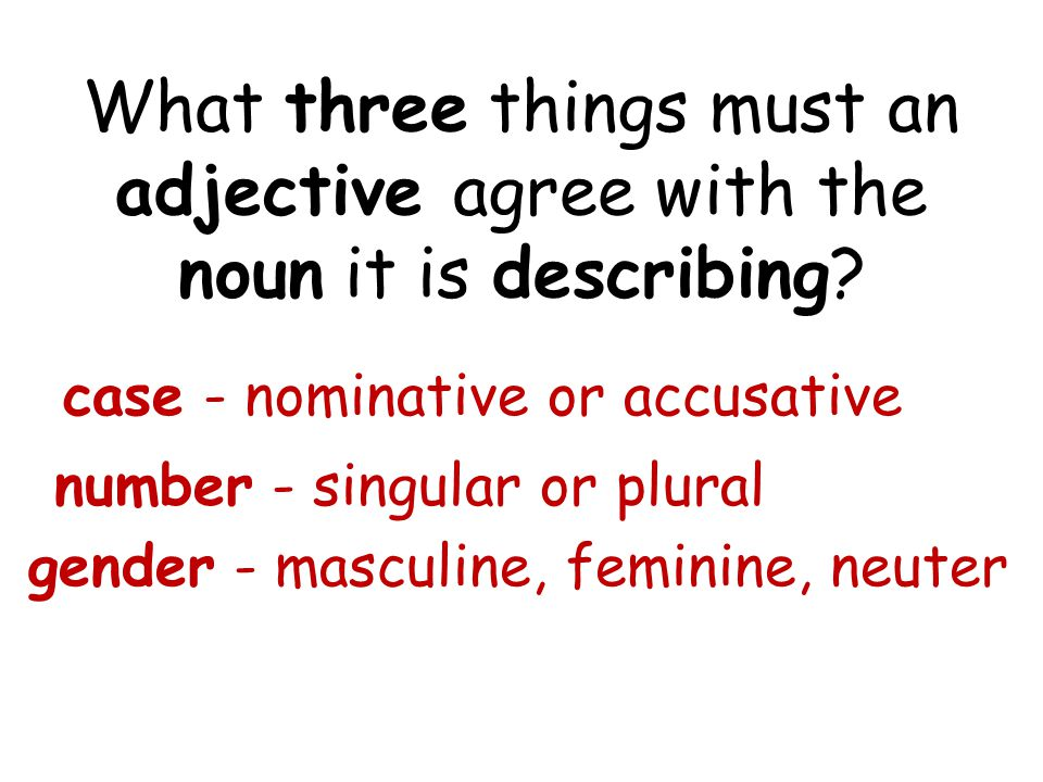What three things must an adjective agree with the noun it is describing