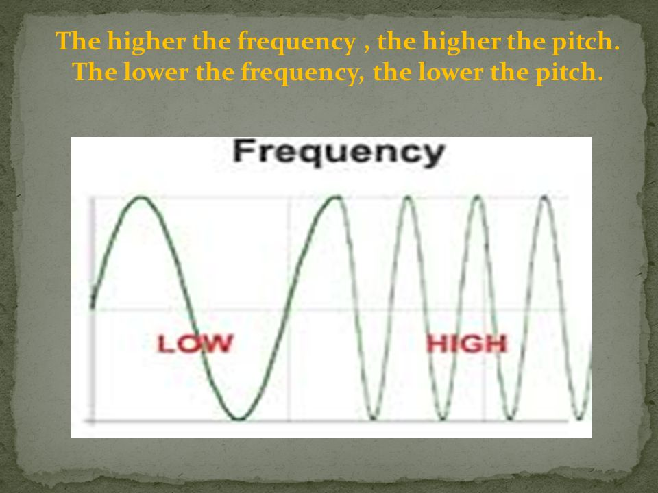 The higher the frequency , the higher the pitch.