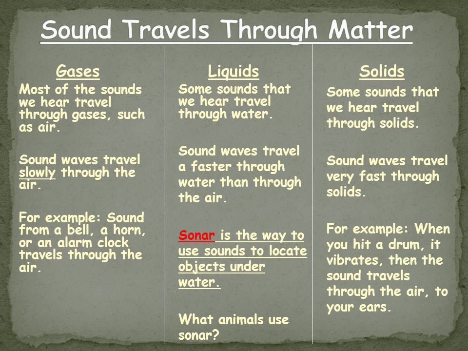 Sound Travels Through Matter