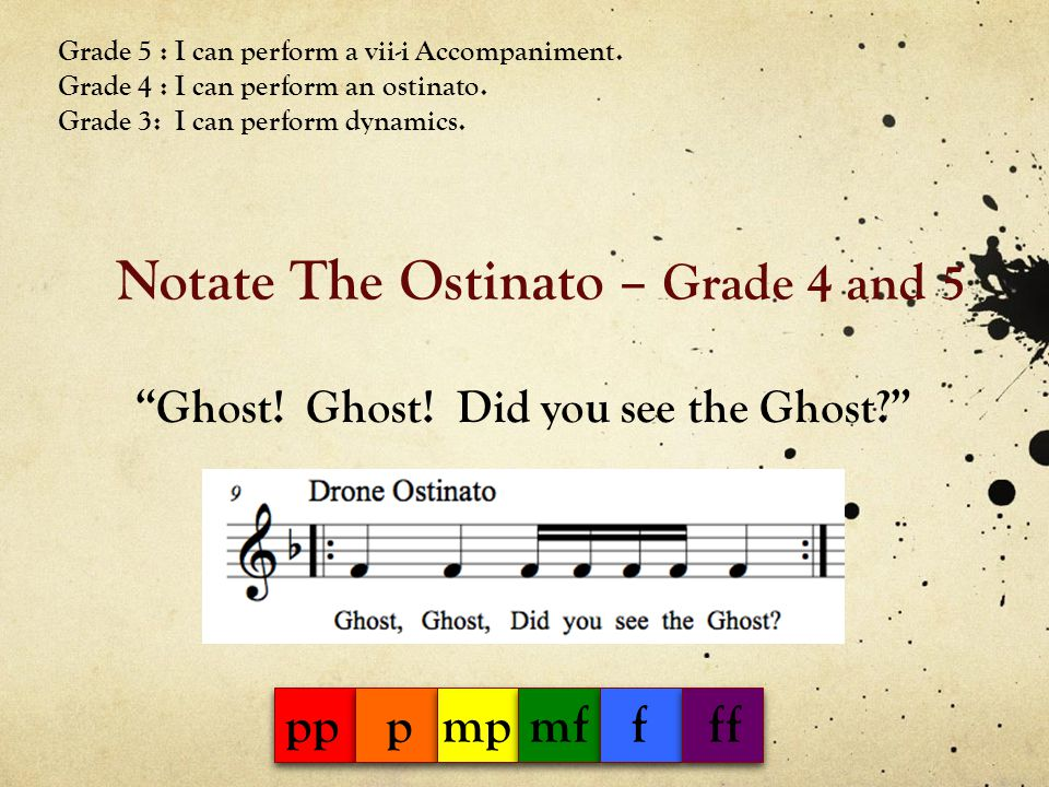 Notate The Ostinato – Grade 4 and 5