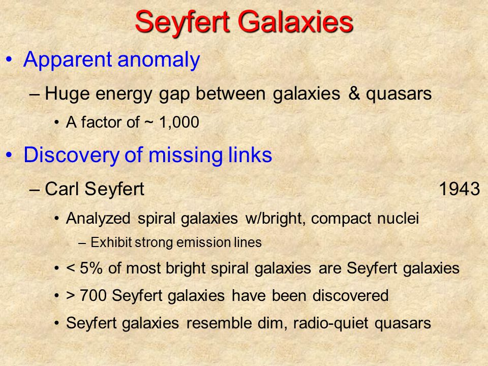 Seyfert Galaxies Apparent anomaly Discovery of missing links