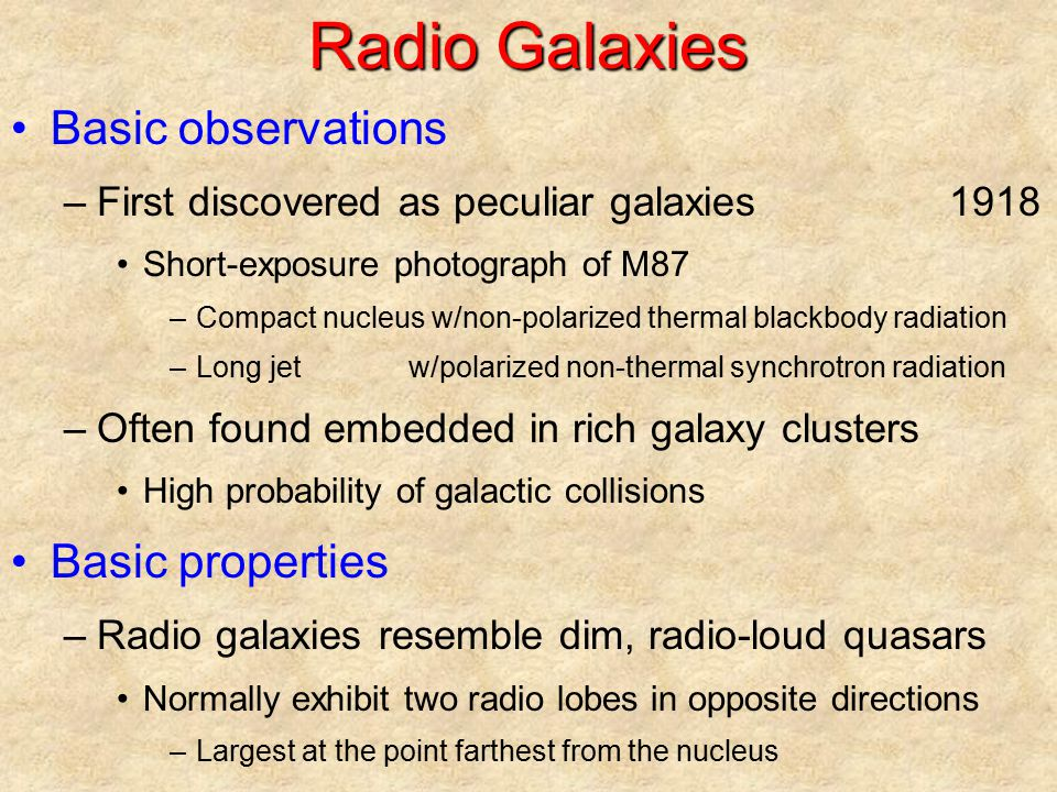 Radio Galaxies Basic observations Basic properties