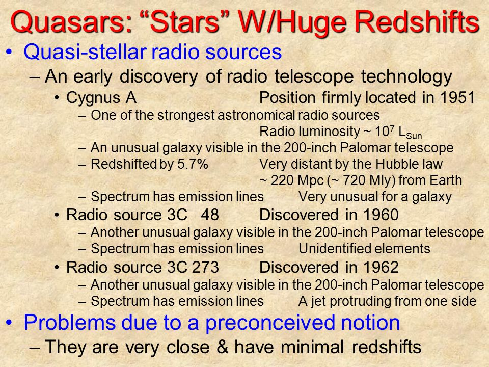 Quasars: Stars W/Huge Redshifts