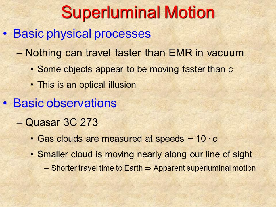Superluminal Motion Basic physical processes Basic observations