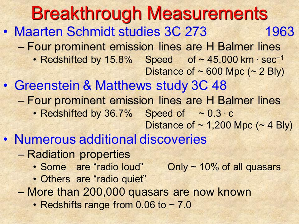 Breakthrough Measurements
