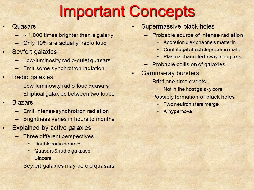 Important Concepts Quasars Seyfert galaxies Radio galaxies Blazars