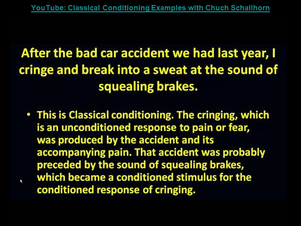 YouTube: Classical Conditioning Examples with Chuch Schallhorn