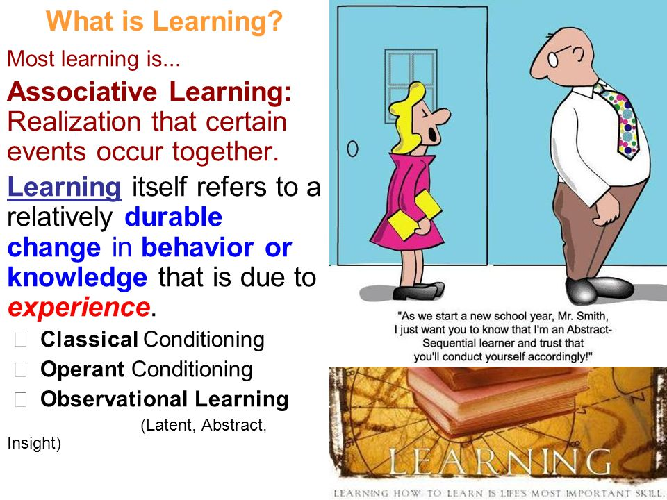 Associative Learning: Realization that certain events occur together.