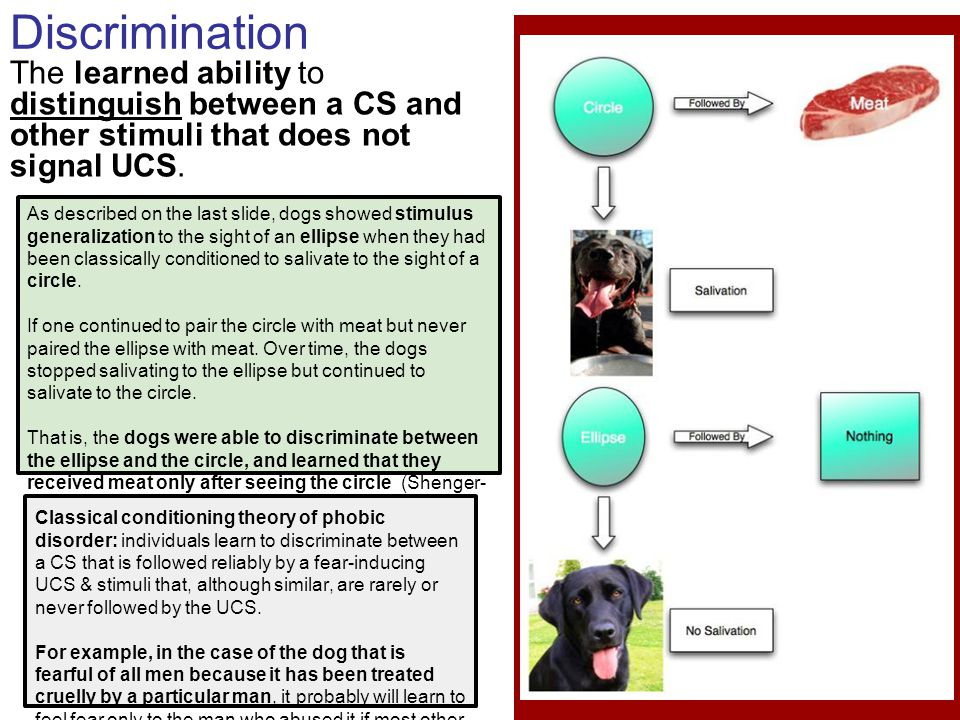 Discrimination The learned ability to distinguish between a CS and other stimuli that does not signal UCS.