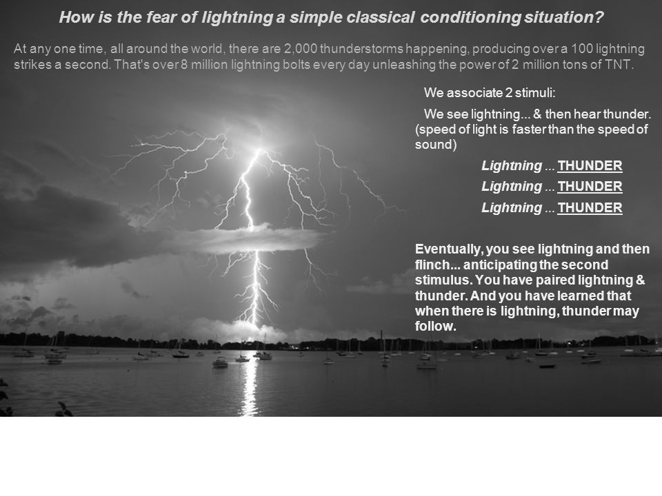 How is the fear of lightning a simple classical conditioning situation