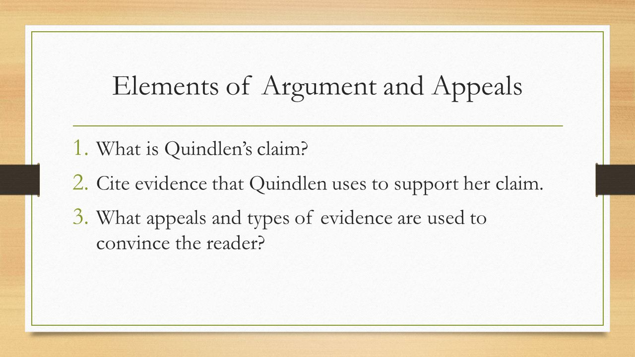 Elements of Argument and Appeals