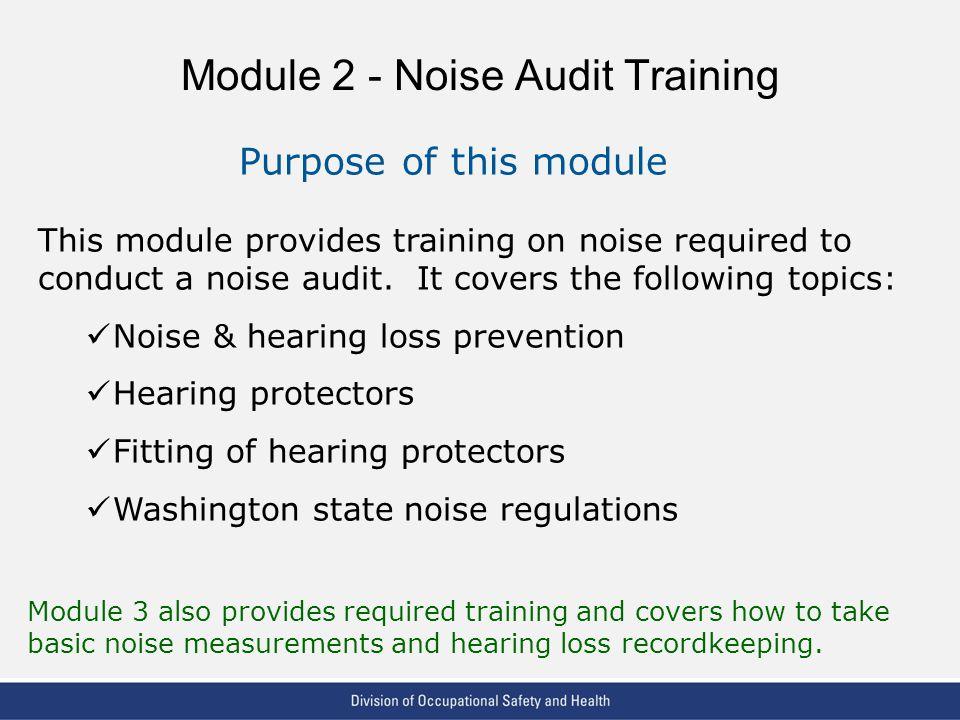 Module 2 - Noise Audit Training