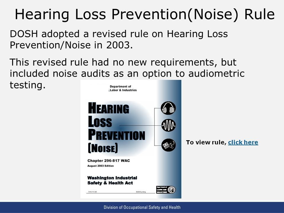 Hearing Loss Prevention(Noise) Rule