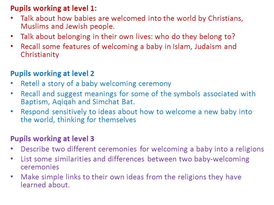 Pupils working at level 1: