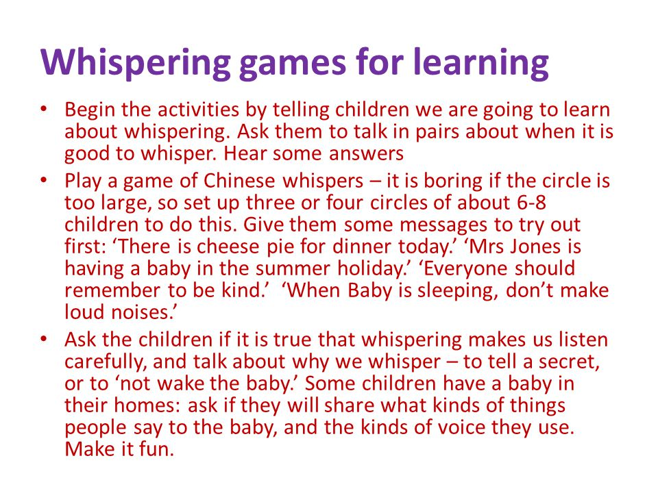 Whispering games for learning