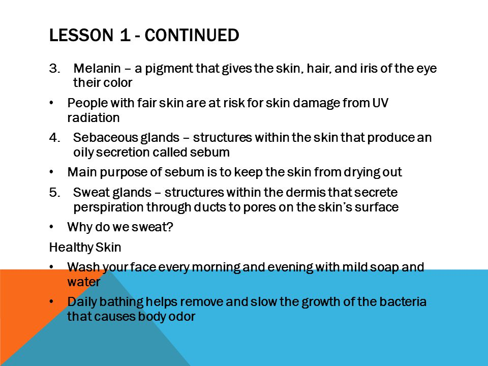 Lesson 1 - continued Melanin – a pigment that gives the skin, hair, and iris of the eye their color.