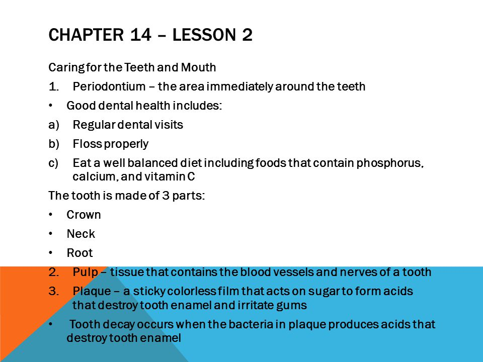 Chapter 14 – Lesson 2 Caring for the Teeth and Mouth