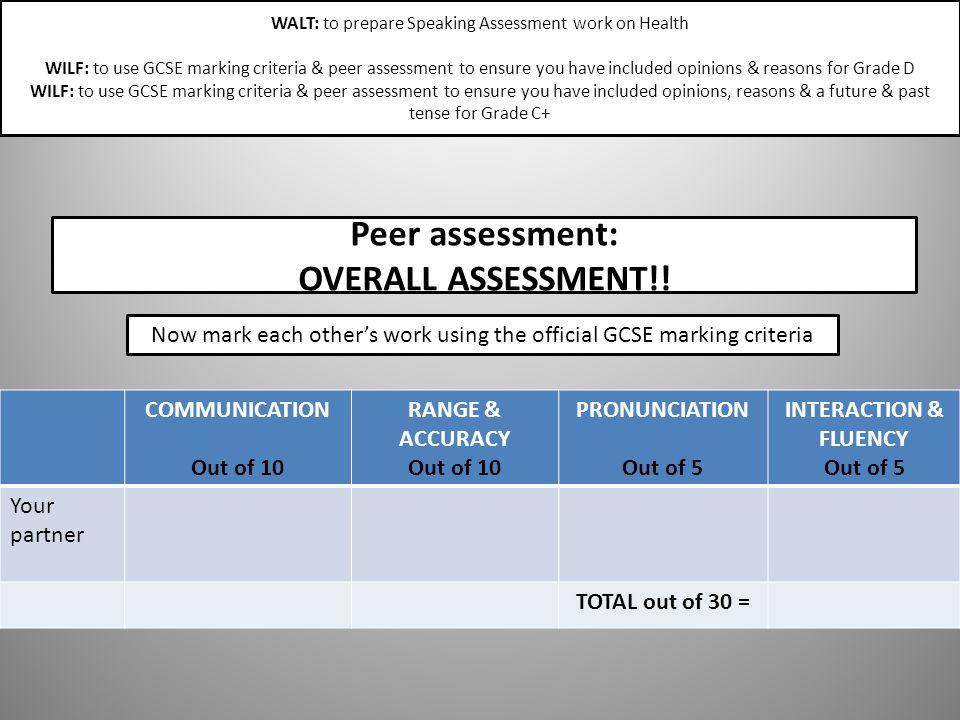 Peer assessment: OVERALL ASSESSMENT!!