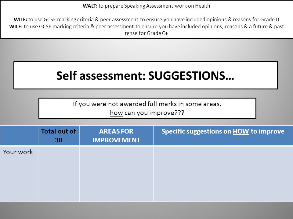 Self assessment: SUGGESTIONS…