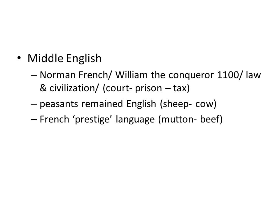 Middle English Norman French/ William the conqueror 1100/ law & civilization/ (court- prison – tax)