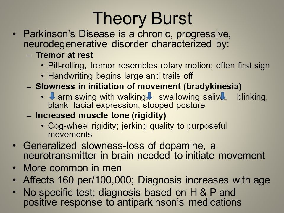 Theory Burst Parkinson's Disease is a chronic, progressive, neurodegenerative disorder characterized by: