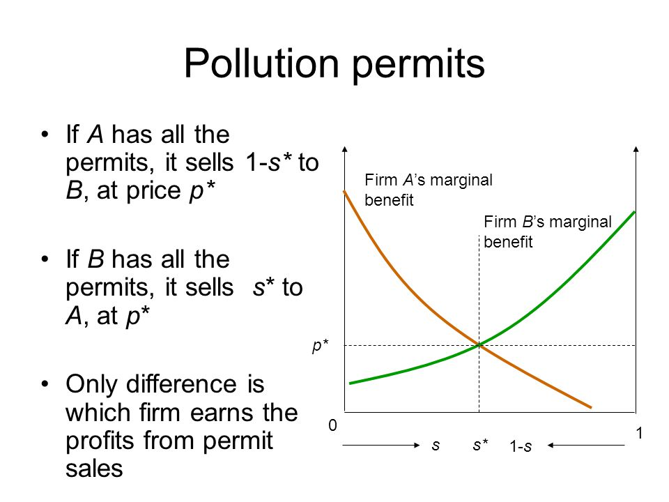 Pollution permits If A has all the permits, it sells 1-s* to B, at price p* If B has all the permits, it sells s* to A, at p*