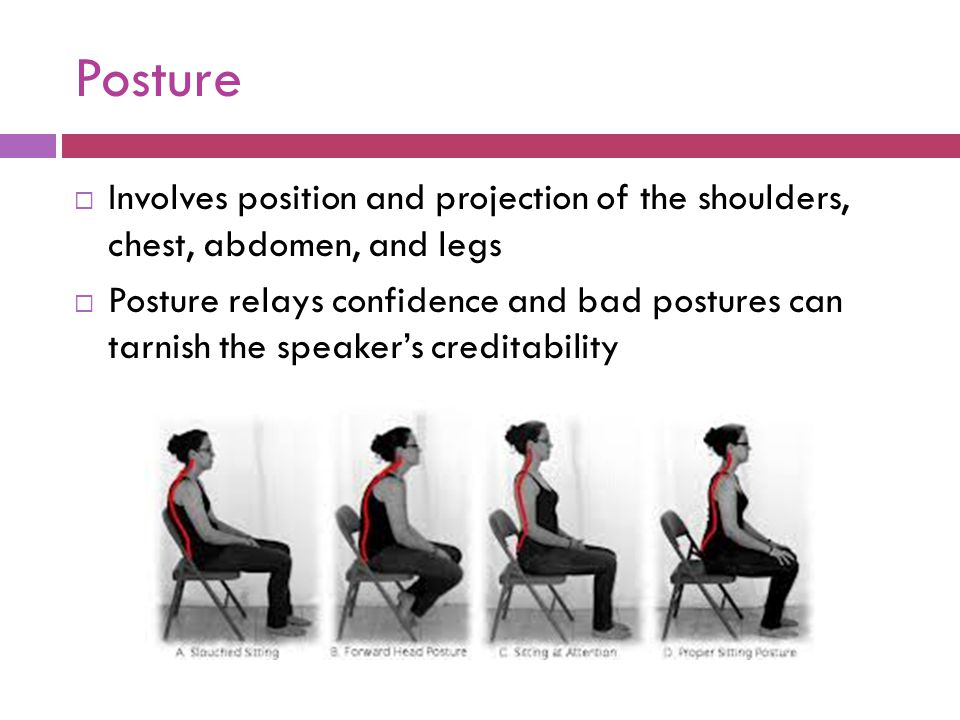 Posture Involves position and projection of the shoulders, chest, abdomen, and legs.