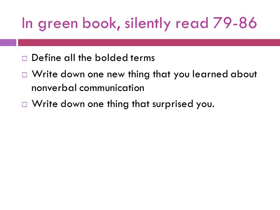 In green book, silently read 79-86