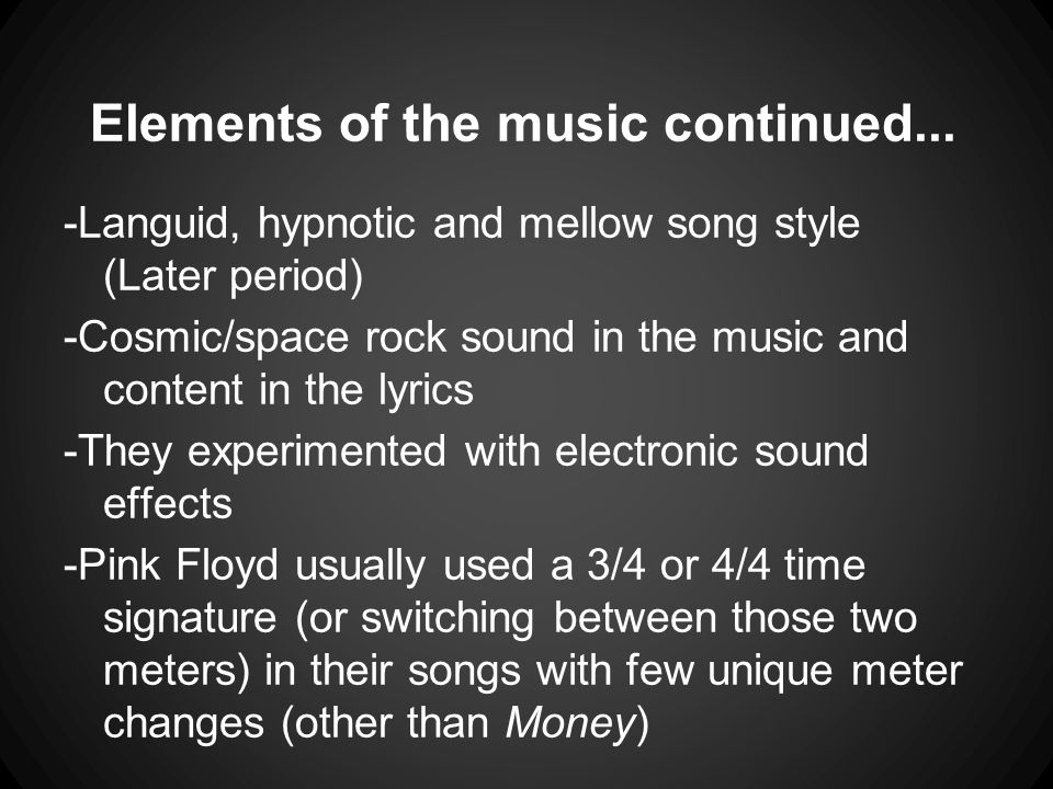 Elements of the music continued...