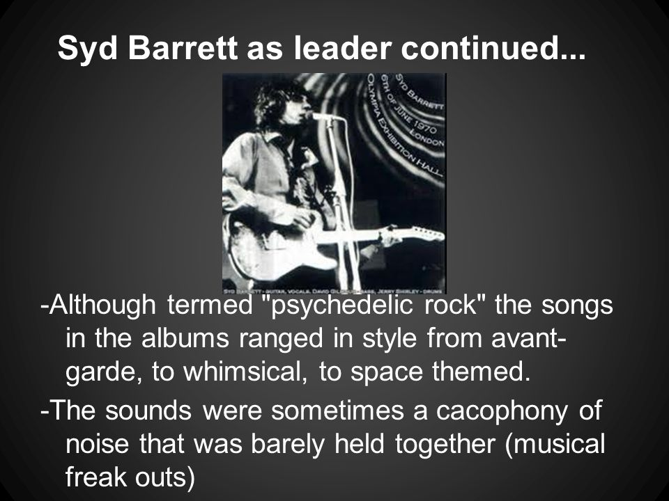 Syd Barrett as leader continued...