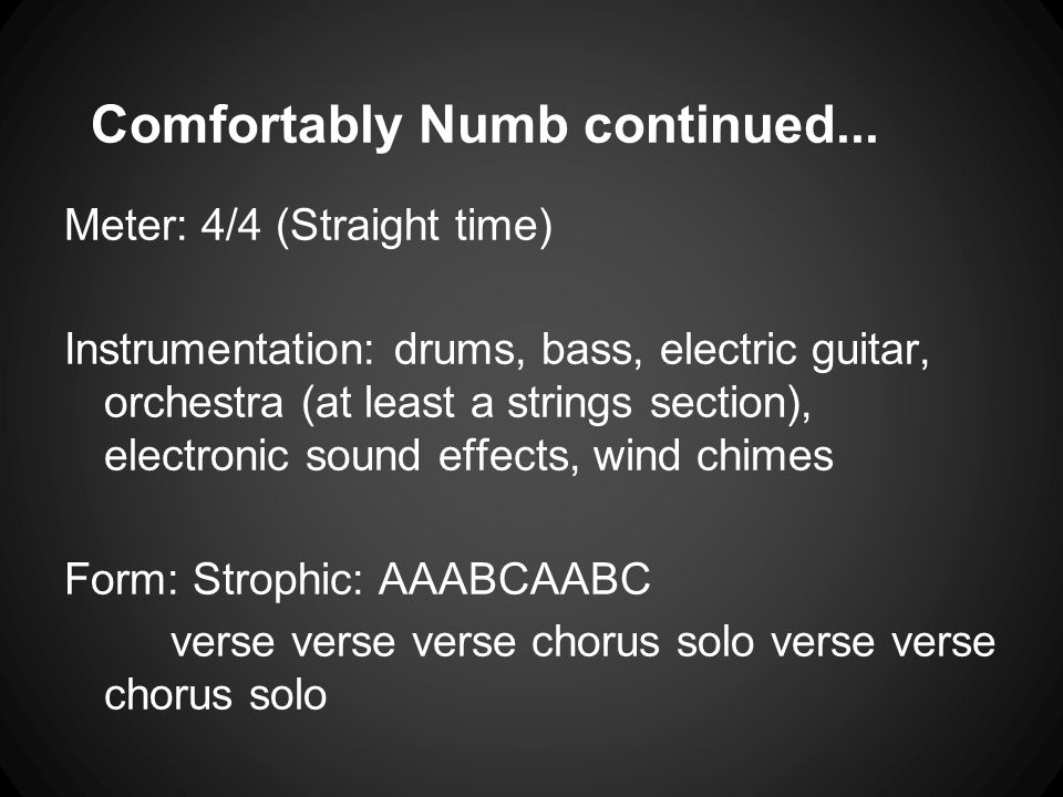 Comfortably Numb continued...