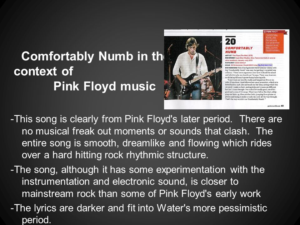 Comfortably Numb in the context of Pink Floyd music