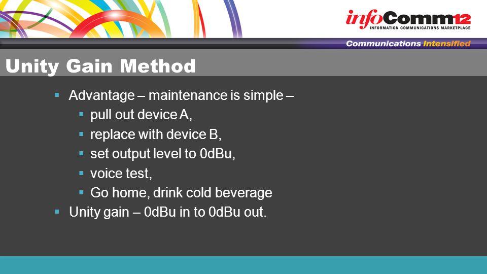 Unity Gain Method Advantage – maintenance is simple –