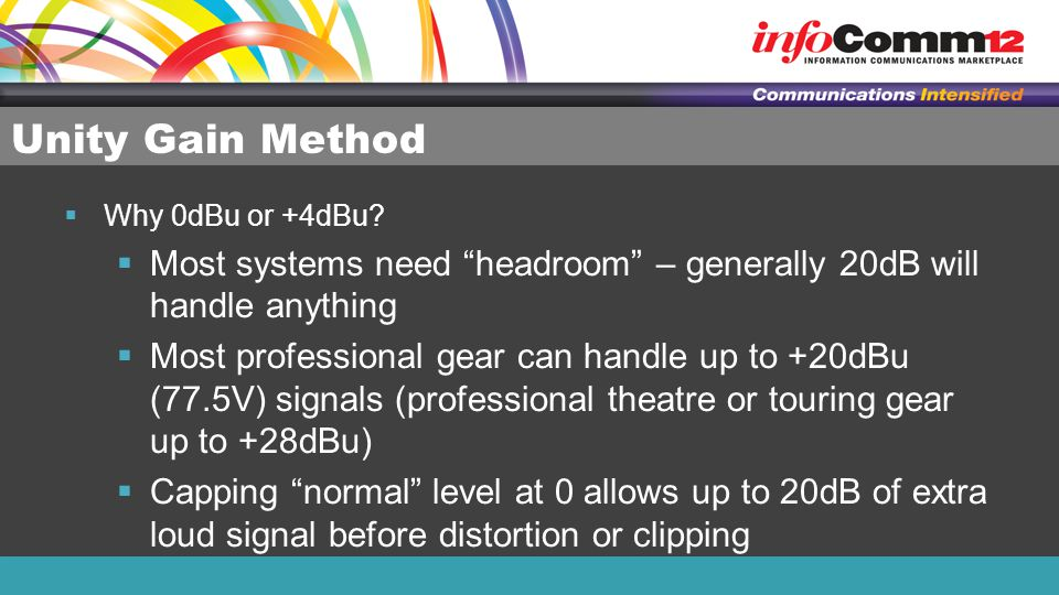 Unity Gain Method Why 0dBu or +4dBu Most systems need headroom – generally 20dB will handle anything.