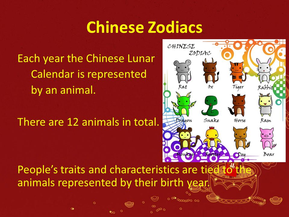 Chinese Zodiacs Each year the Chinese Lunar Calendar is represented