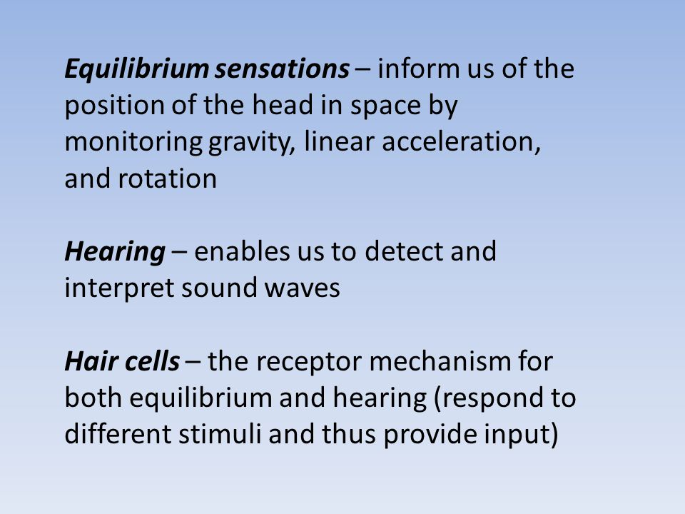 Equilibrium sensations – inform us of the position of the head in space by monitoring gravity, linear acceleration, and rotation