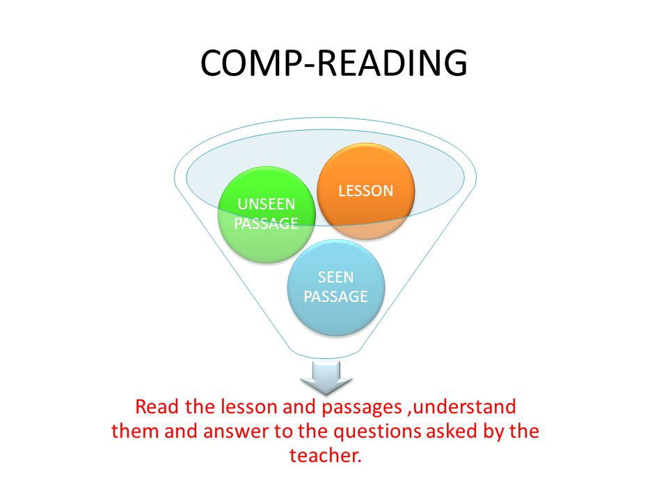 COMP-READING Read the lesson and passages ,understand them and answer to the questions asked by the teacher.