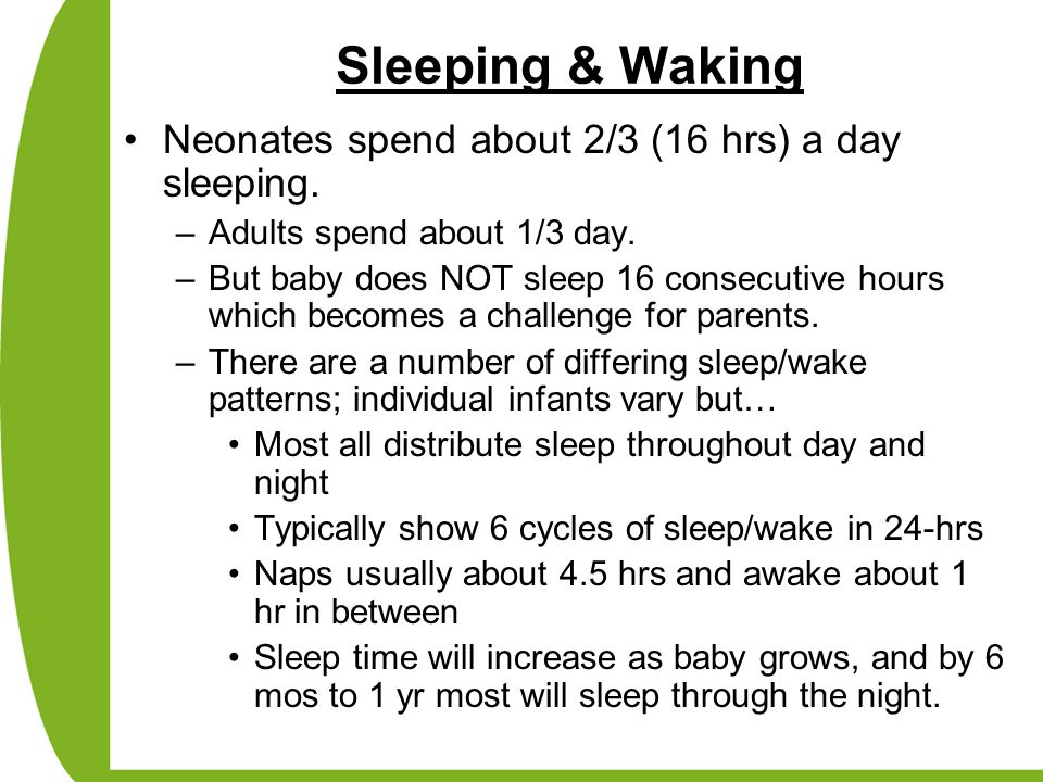 Sleeping & Waking Neonates spend about 2/3 (16 hrs) a day sleeping.
