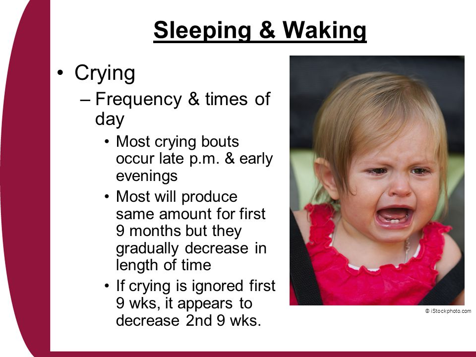 Sleeping & Waking Crying Frequency & times of day