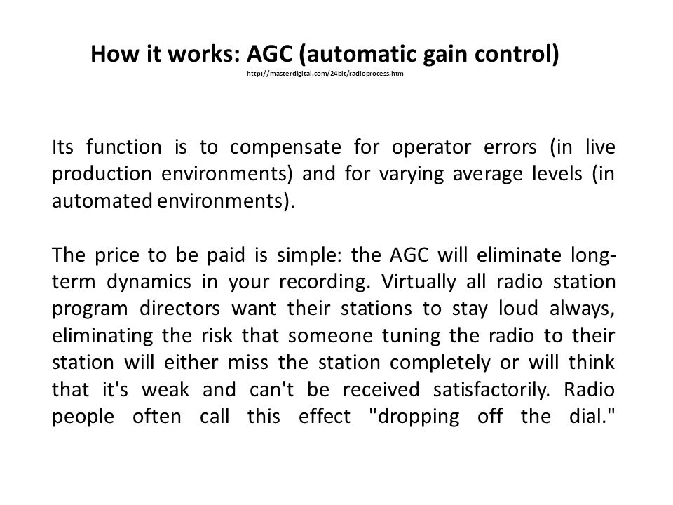 How it works: AGC (automatic gain control)