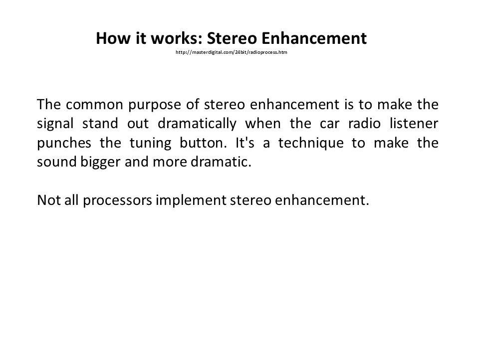 How it works: Stereo Enhancement