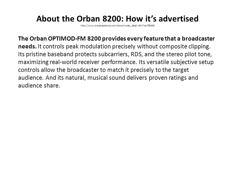 About the Orban 8200: How it's advertised